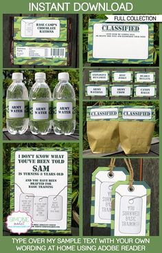 Camo Army Party Printables, Invitations & Decorations| Birthday Party Theme templates