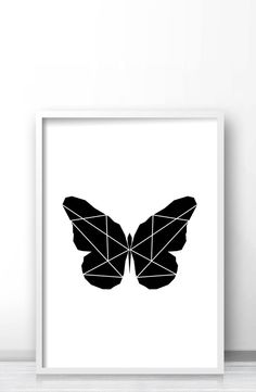 Modern geometric butterfly wall art print, Black and white butterfly art by Limitation Free