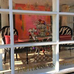 "SM Home Gallery Window December 2015 featuring painting by Katherine Evans ""La Vie En Rose, Acrylic on Canvas, 48"" x 48"" www.sandramorganinteriors.com"