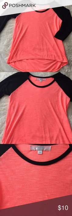 """New w/o tags girls 3/4 length sleeve T-shirt Girls Medium T-Shirt by """"Mia Mia"""" New without tags--beautiful coral and black Moa Moa Shirts & Tops Tees - Long Sleeve"""
