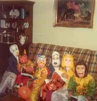 Old school plastic Halloween costumes and masks