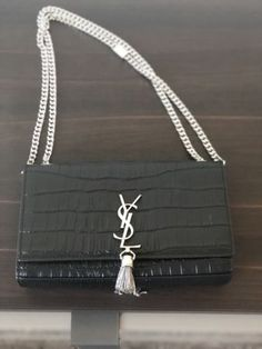 Details about YSL Saint Laurent Monogram Medium Kate Tassel Shoulder Chain  Bag croc Green c84ca438abf0c