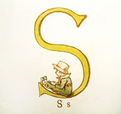Kate Greenaway illustration. S is for Sean.