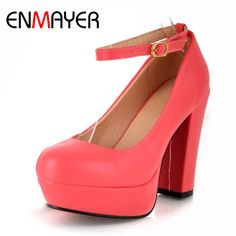 ENMAYER Hot Selling Fashion  Style ankle strap Non leather Casual Shoes Sexy High Heels Pumps Party Shoes Wholesale Large Size