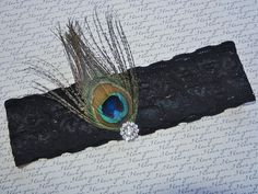 Black Bridal Garter Peacock Feather Design by DESIGNERSHINDIGS, $12.00