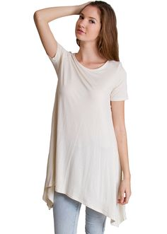 Tapered Tunic Trapeze Top T4473CRE, clothing, clothes, womens clothing, jeans, tops, womens dress
