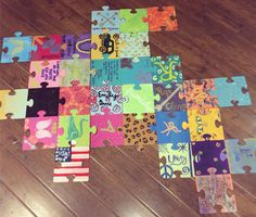 "Pi Beta Phi puzzle piece sisterhood event! ""Individually unique, together complete!"" #piphi #pibetaphi"