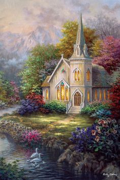 Nicky Boehme Solid-Faced Canvas Print Wall Art Print entitled Serenity, None Thomas Kinkade Art, Kinkade Paintings, Old Country Churches, Cottage Art, Wow Art, Kirchen, Beautiful Paintings, Pretty Pictures, Art World