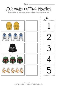 Free Star Wars Printables For Kids - Printable Star Wars - Ideas of Printable Star Wars #starwars #printable #files - Need some free printable scissor practice worksheets for preschool and pre k kids? These Star Wars printables are a great cutting activity that helps with counting fine motor skills and more! #simpleeverydaymom #scissorpractice #preschool Scissor Practice, Cutting Practice, Star Wars Kids, Star Wars Baby, Printable Star, Free Printables, Cutting Activities, Star Wars Prints, Star Destroyer