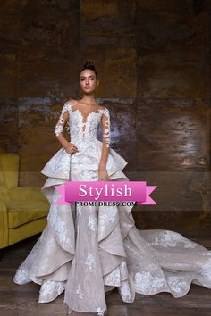 2018 Mermaid Scoop Long Sleeves Wedding Dresses Tulle & Lace With Applique Chapel Train Detachable US$ 449.99 STPTYQ5NRB - StylishPromsDress.com for mobile