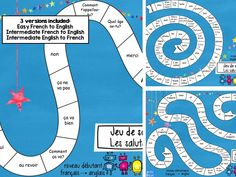 A board game to consolidate understanding of 'greetings' vocabulary. Introduce some fun and an element of competition into the lesson. 3 versions included- Easy French to English, Intermediate French to English and Intermediate English to F. Learning Cards, Ways Of Learning, French Greetings, French Conversation, French Flashcards, Learn To Speak French, French Resources, French Teacher, Teaching French