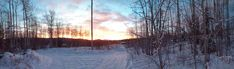#cabin #clouds #nature #panorama #snow #sunrise #trees #winter #yukon