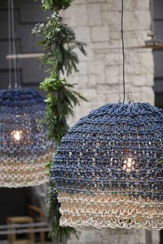 Installations — Little Dandelion Vogue Knitting, Arm Knitting, Lampe Crochet, Extreme Knitting, Deco Luminaire, Australian Fashion Designers, Handmade Home, Lamp Shades, Textile Design