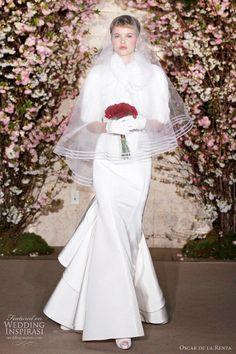 Lovely wedding dresses from Oscar de la Renta Spring/Summer 2012 bridal collection Love the stripe veil