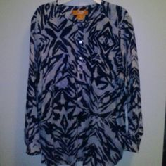 Joe Fresh blouse - never worn Navy & white 5 button placket blouse.  Never worn. Joe Fresh Tops Blouses