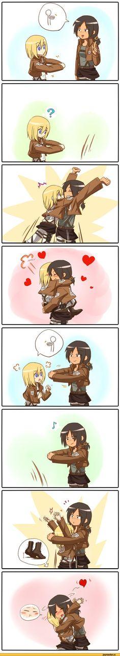 Shingeki no Kyojin Attack on Titan cute girls Ymir and Christa