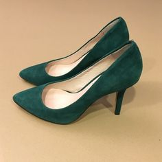 Hunter Green Vince Camuto Suede Pumps These green suede pumps are perfect for the holiday.  They are in excellent condition and only worn a few times. Heel height is 3.5 inches high. Vince Camuto Shoes Heels