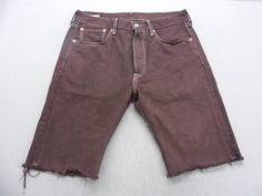 8b18ee7c1c9b Mens Burgundy Dyed Denim Levi s 501 Cut Off Bermuda Jean Shorts Size 32 W