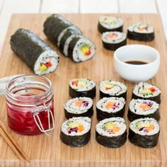 Vegan sushi and homemade pickled ginger make a perfect light meal. Contrary to popular belief, making a sushi roll isn't difficult - we'll show you how. Sushi Vegan, Vegan Sushi Rolls, Vegan Food, Healthy Food, Party Dishes, Food Dishes, Lazy Cat Kitchen, Pickled Ginger, Vegan Recipes