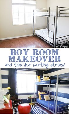 Little Boy Room Makeover and Tips for Painting Stripes