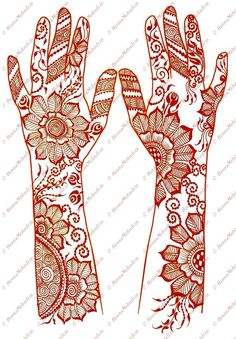 This mehendi designs contains big sized flower motifs with small leaves and swirls. Mehendi Designs covers the fingers entirely with different patterns.