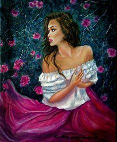 Dea  delle  rose madre  gaia-tela  40x50  olio  su  tela cristina  de  biasio