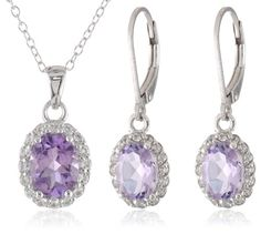 Sterling Silver Amethyst Pendant Necklace and Earrings Jewelry Set Amazon Curated Collection, JEWELRY AND GEMS if you wish to buy just CLICK on AMAZON right HERE http://www.amazon.com/dp/B00FMLDJKK/ref=cm_sw_r_pi_dp_1Tm3sb0XVJCFCW7S