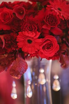 Red Wedding, centerpieces, wedding flowers, wedding reception, Photographs by Eric Camping, Floral Designs by Stacy K Floral