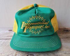 Vintage 80s INTERNATIONAL TRANSPORT Mesh Trucker Hat Snapback Cap K-Brand USA #KBrand #BaseballCap