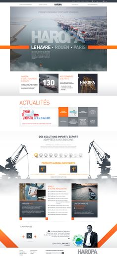 Conception et direction artistique des sites des ports de Paris - HAROPA Minimal Web Design, Layout Design, Interaktives Design, Design De Configuration, Design Sites, Site Web Design, Web Layout, Logo Design, Flat Design
