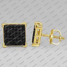 Men's/Women's Spe.14k Black Real Diamond+Screw Back Square Stud Earrings #StudEarrings