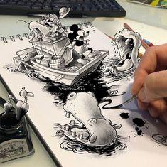 "francesco on Instagram: ""#mickeymouse #topolino #disney #3d #drawing3d #3dpainting #digitaldrawing #disegnodigitale #drawinyourstyle #disneyvintage #vintageart…"" Cartoon Drawings, Drawing Sketches, My Drawings, 3d Painting, Vintage Art, 3 D, Mickey Mouse, Cartoons, Doodles"