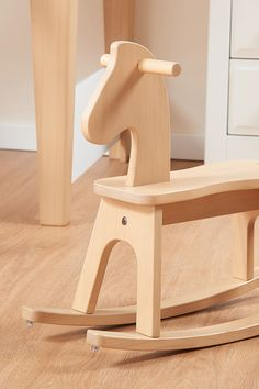 A classic children's toy with a modern twist, the Tidy Rocking Horse features a simplistic design crafted from solid Australian Araucaria wood. With a few simple adjustments the rocking horse can also become a small sturdy bench. Rocking Horse Plans, Wood Rocking Horse, Wooden Baby Toys, Wood Toys, Kids Table And Chairs, Children Toys, My Furniture, Wood Pieces, Baby Room Decor