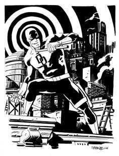 Daredevil by Chris Samnee Comic Book Artists, Comic Artist, Comic Books Art, Marvel Comic Universe, Marvel Comics, Comic Character, Character Design, Daredevil Elektra, D Mark