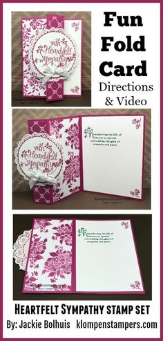 Fun Fold with Video! Check out this fun card using the Heartfelt Sympathy stamp set from Stampin' Up! by lela