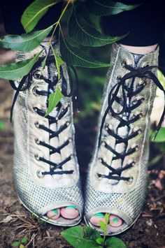 Chanel lace up silver booties