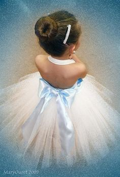 ❀ Fanciful Flower Girls ❀ dresses & hair accessories for the littlest wedding attendant :-)  white tutu with blue bow