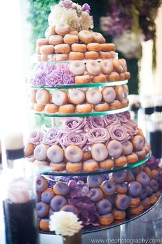 The Ultimate Donut Wedding Cake! This cake was designed for a wedding and consisted of iced donuts arranged in tiers like a wedding cake. See the full. Doughnut Wedding Cake, Wedding Donuts, Wedding Desserts, Mini Desserts, Wedding Cakes, Wedding Favors, Wedding Invitation, Delicious Desserts, Bon Dessert