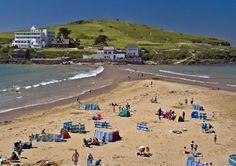 Bigbury-on-Sea with view across the sandy beach to Burgh Island.