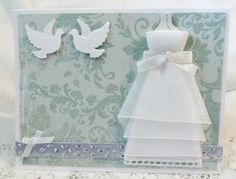 Wedding Card Handmade Teal Blue with White Dress by luvncrafts, $3.50