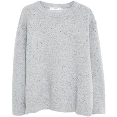 Mango Flecked Cotton Blend Sweater, Light Heather Grey (170 DKK) ❤ liked on Polyvore featuring tops, sweaters, shirts, jumper, sleeve shirt, mango sweater, shirt sweater, heather grey sweater and extra long sleeve shirts