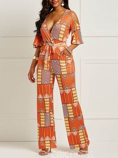 Model: Loose Material: Milk Fiber Length: Full Length Trousers Shape: Wide Legs Waist Line: High. African Print Jumpsuit, Ankara Jumpsuit, Ankara Skirt And Blouse, African Fashion Ankara, African Dress, Geometric Fashion, Classy Women, Jumpsuits For Women, African Prints