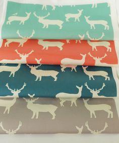 Elk Fam from Mod Basics 2 organic cotton collection from Birch Fabrics