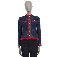 Gucci With Faux Pearl Embellished Buttons Sheer Cardigan V Neck Cardigan, Blue Cardigan, Knit Cardigan, Lace Jacket, Blue Lace, Artsy, Gucci, Buttons