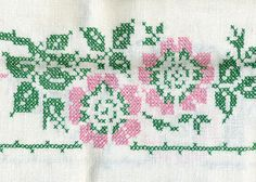 pink-green cross stitch tablecloth detail | Flickr - Photo Sharing!