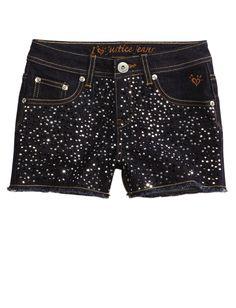 Girls Clothing | Shorties 2½ Inseam | Allover Embellished Denim Short | Shop Justice