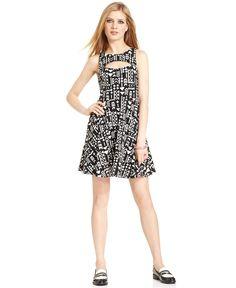 Bar III Dress, Sleeveless Tribal-Print A-Line - Bar III - Women - Macy's