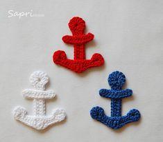 Crochet appliqué Applique Anchor Free choice of color a designer piece Crochet Anchor Applique, Crochet Applique Patterns Free, Crochet Blanket Patterns, Baby Knitting Patterns, Baby Blanket Crochet, Crochet Motif, Crochet Doilies, Crochet Flowers, Diy Crafts Crochet