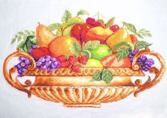 New Completed Finished Cross Stitch Fruit Basket Design Size:17*10inch