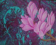 Magnolien - Acryl auf Keilrahmen 30 x 24 cm, 25.06.2015